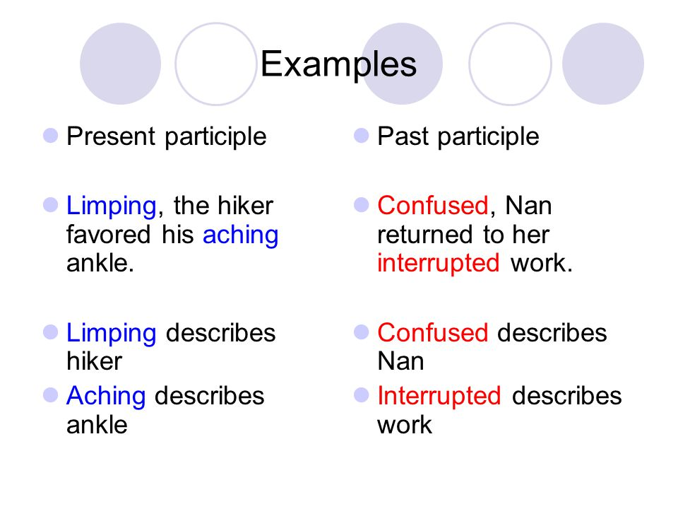Examples Present participle
