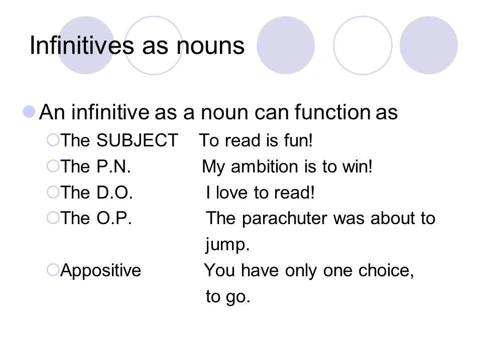 Infinitives as nouns An infinitive as a noun can function as