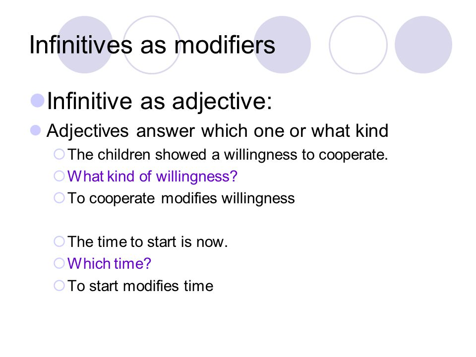 Infinitives as modifiers