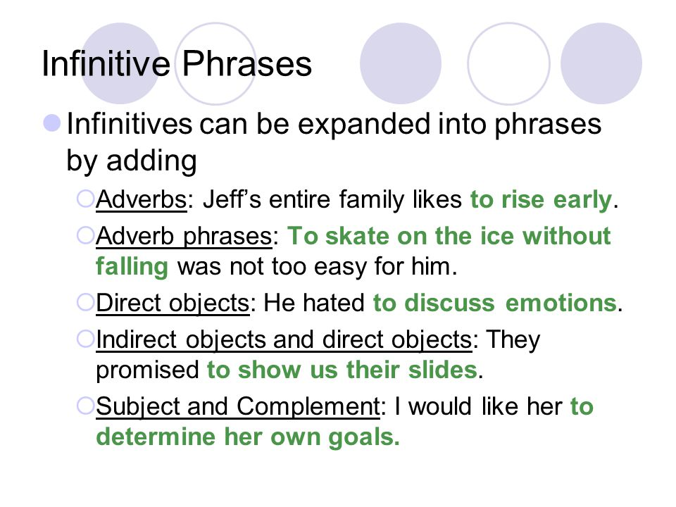 Infinitive Phrases Infinitives can be expanded into phrases by adding