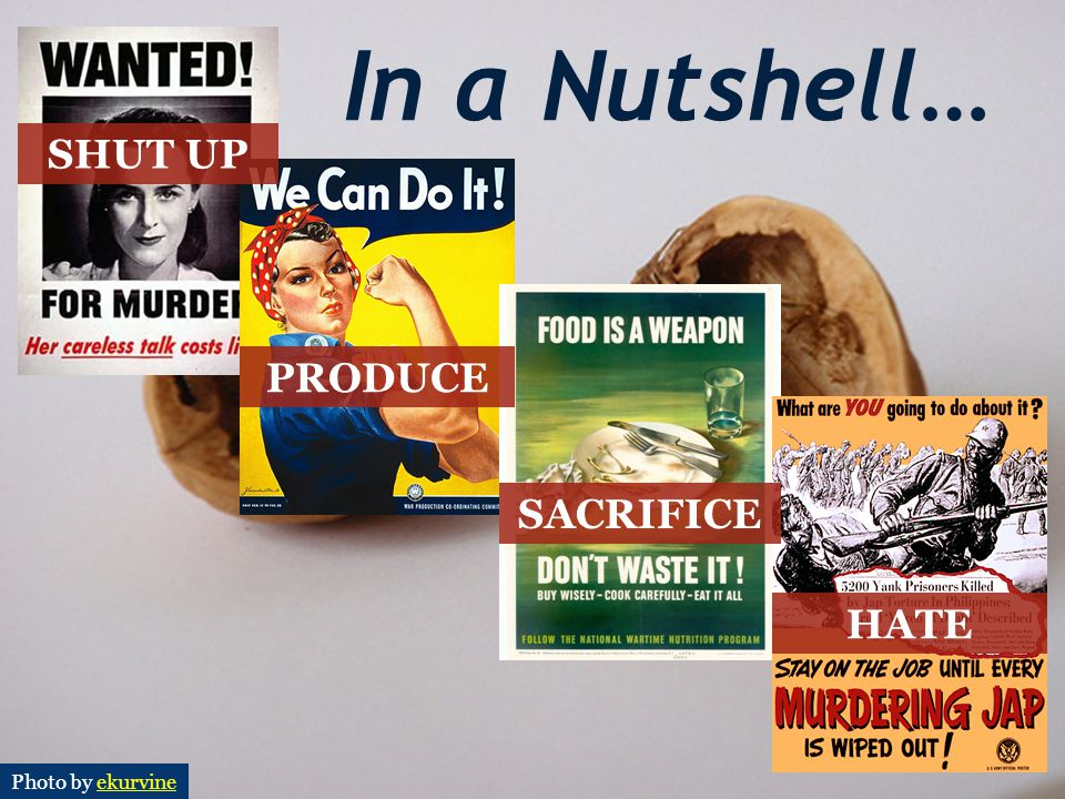 In a Nutshell… SHUT UP PRODUCE SACRIFICE HATE Photo by ekurvine