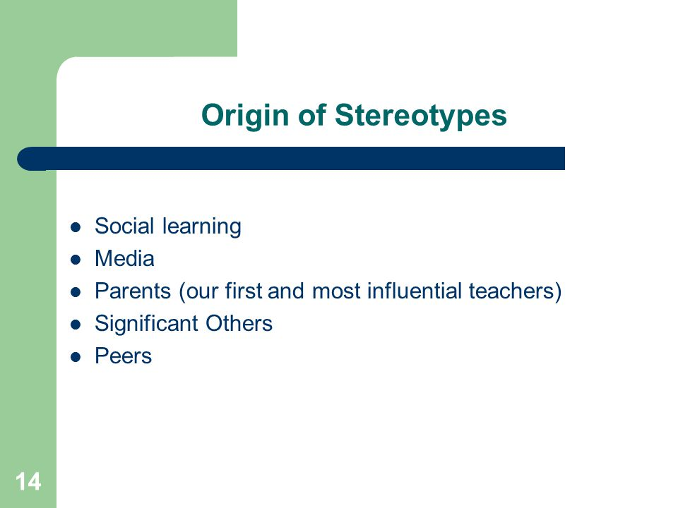Origin of Stereotypes Social learning Media
