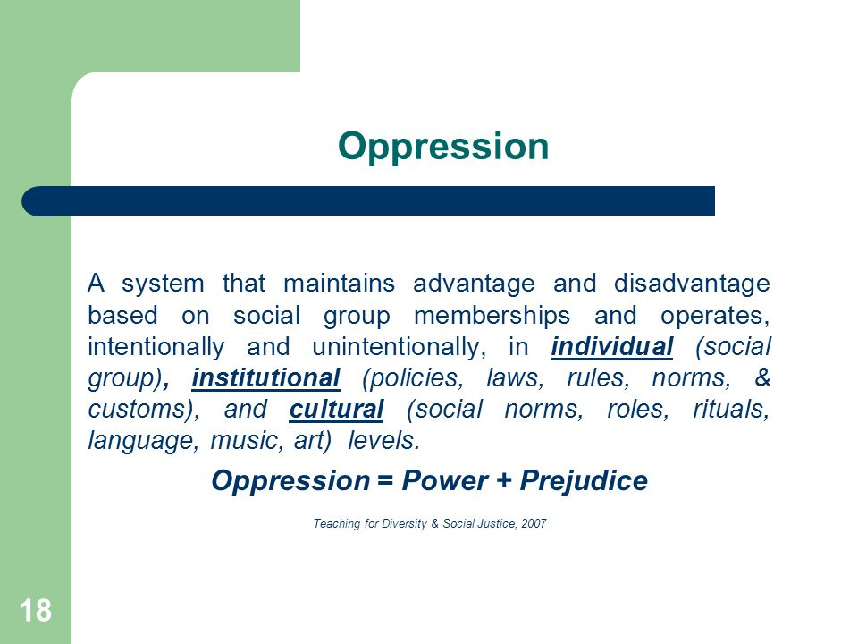 Oppression = Power + Prejudice