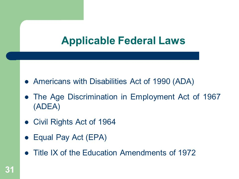 Applicable Federal Laws