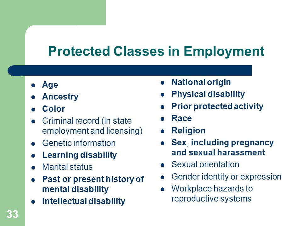 Protected Classes in Employment