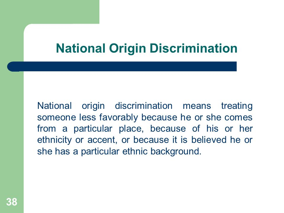 National Origin Discrimination