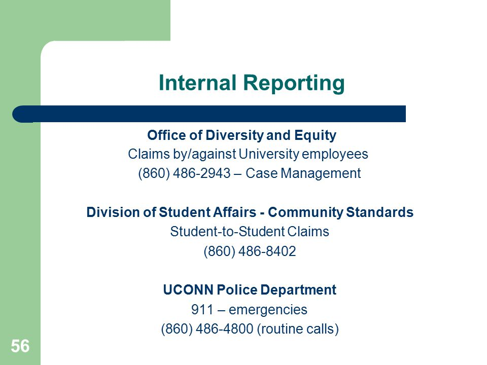 Internal Reporting Office of Diversity and Equity