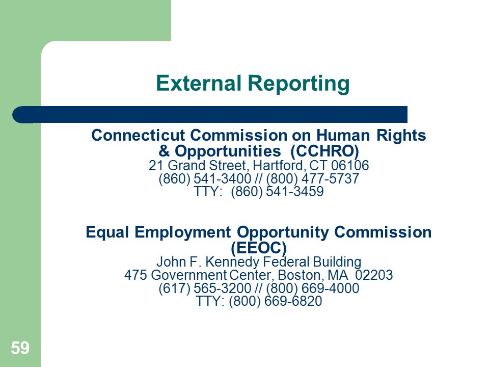 External Reporting Connecticut Commission on Human Rights