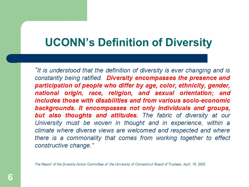 UCONN's Definition of Diversity
