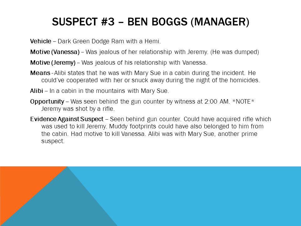 Suspect #3 – Ben Boggs (manager)