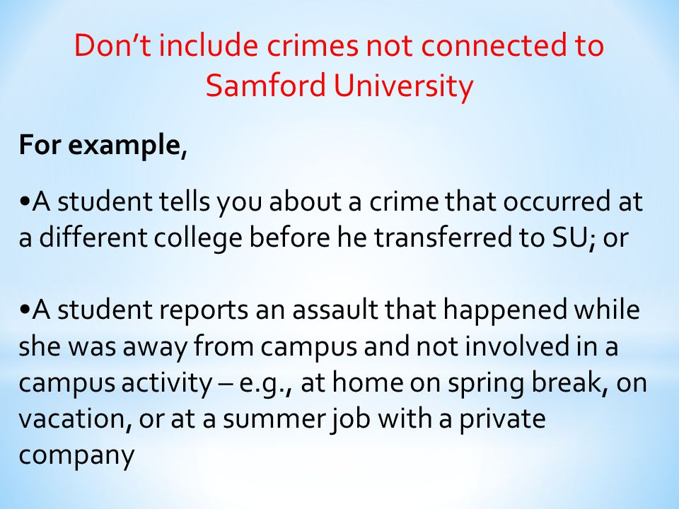Don't include crimes not connected to Samford University