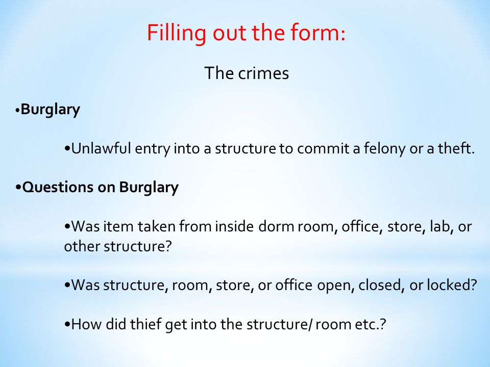 Filling out the form: The crimes