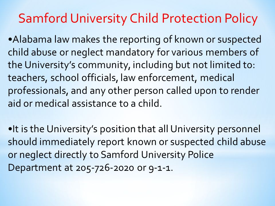 Samford University Child Protection Policy