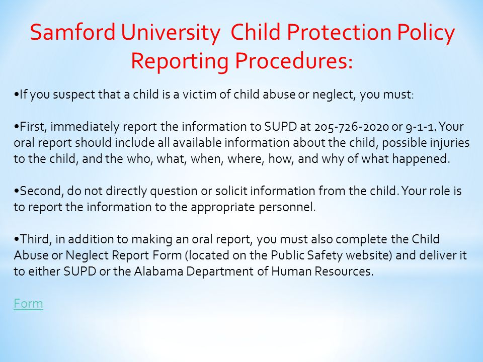 Samford University Child Protection Policy Reporting Procedures:
