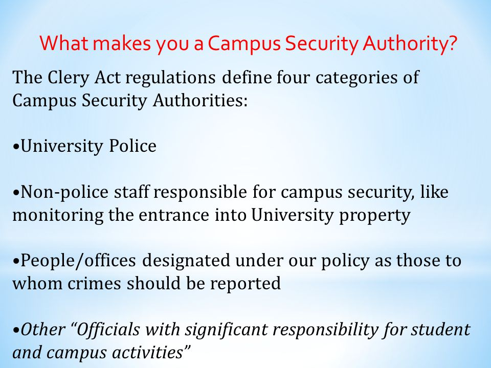 What makes you a Campus Security Authority