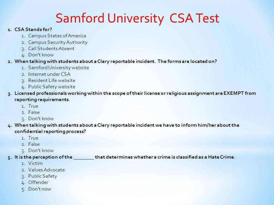 Samford University CSA Test