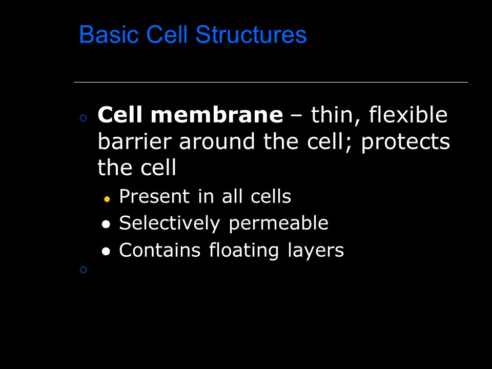 Basic Cell Structures Cell membrane – thin, flexible barrier around the cell; protects the cell. Present in all cells.