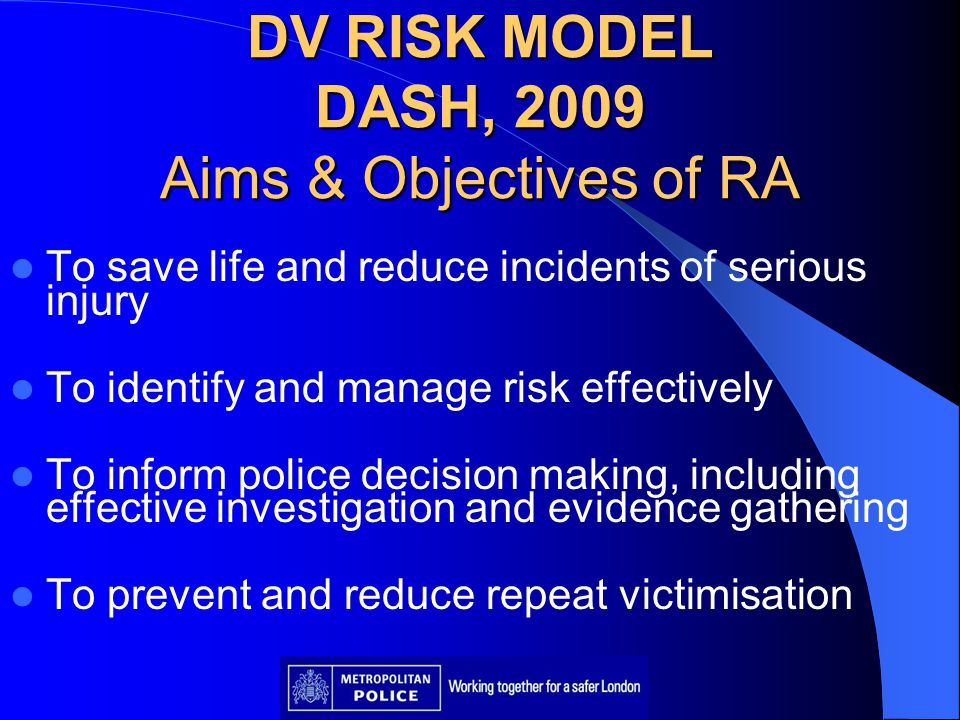 DV RISK MODEL DASH, 2009 Aims & Objectives of RA