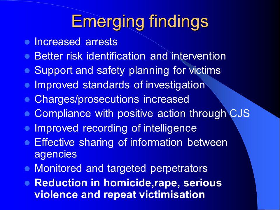 Emerging findings Increased arrests