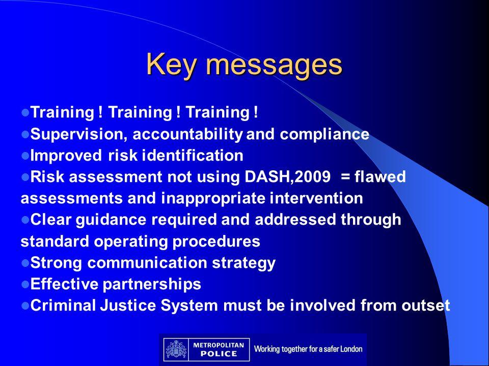 Key messages Training ! Training ! Training !