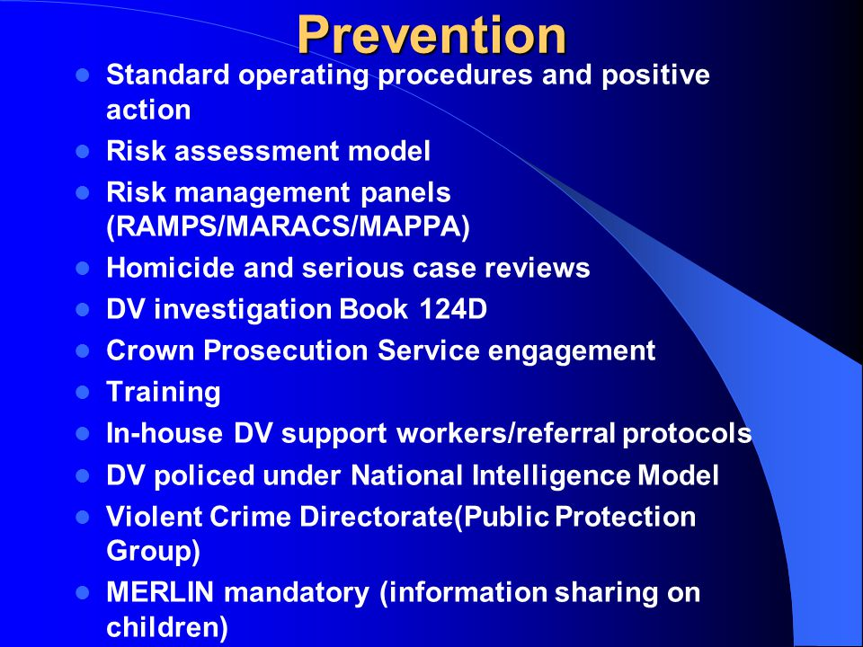 Prevention Standard operating procedures and positive action