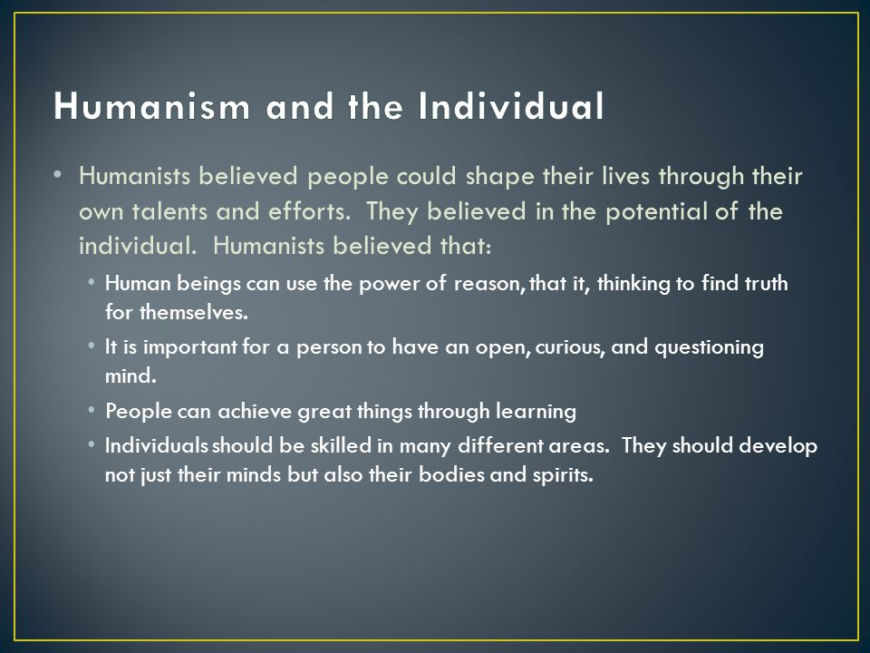 Humanism and the Individual