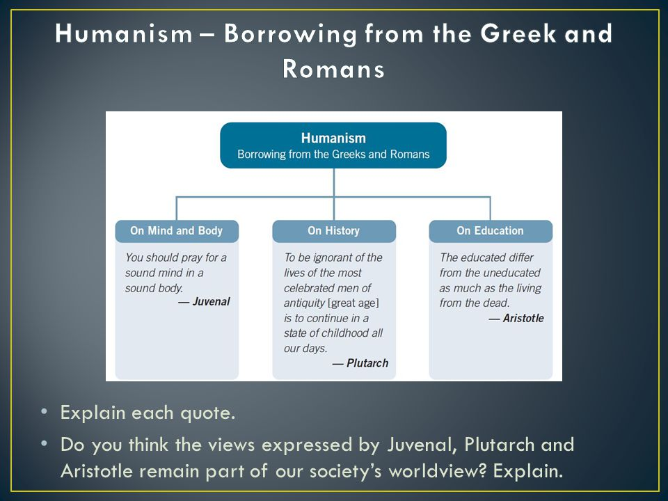 Humanism – Borrowing from the Greek and Romans
