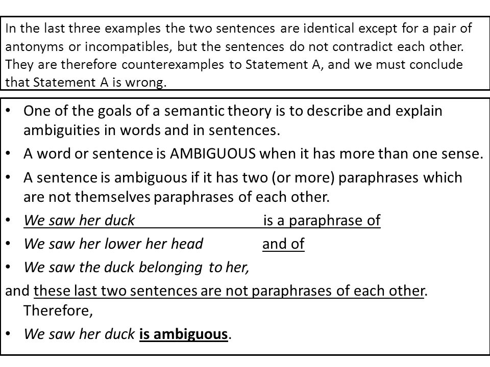 A word or sentence is AMBIGUOUS when it has more than one sense.