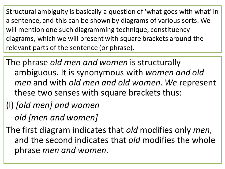 Structural ambiguity is basically a question of what goes with what in a sentence, and this can be shown by diagrams of various sorts. We will mention one such diagramming technique, constituency diagrams, which we will present with square brackets around the relevant parts of the sentence (or phrase).
