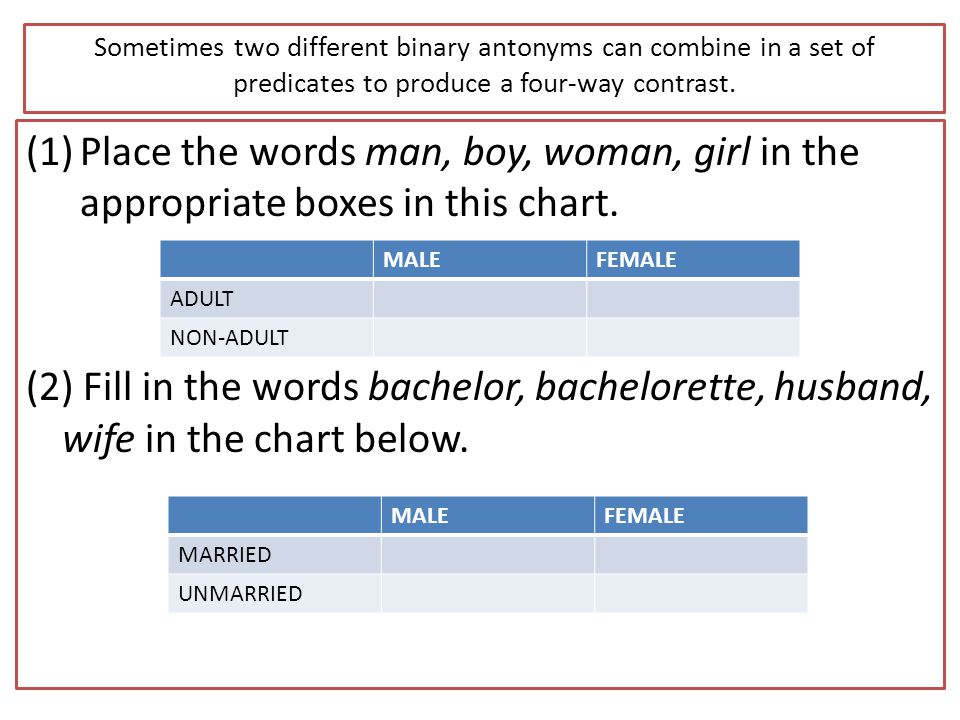 Sometimes two different binary antonyms can combine in a set of predicates to produce a four-way contrast.