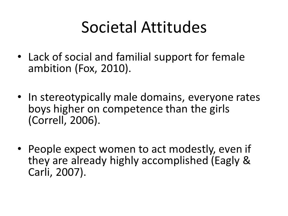 Societal Attitudes Lack of social and familial support for female ambition (Fox, 2010).