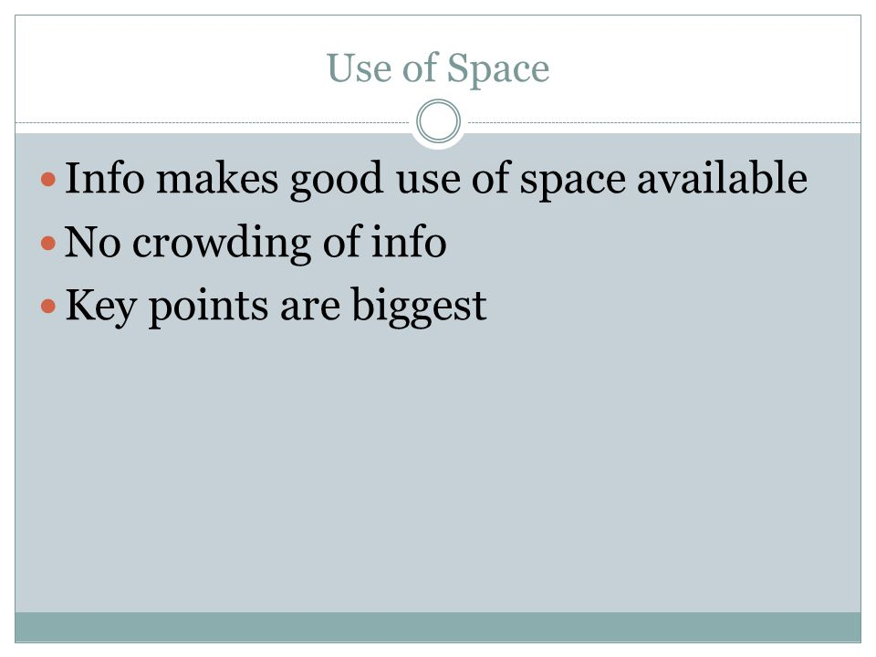 Info makes good use of space available No crowding of info