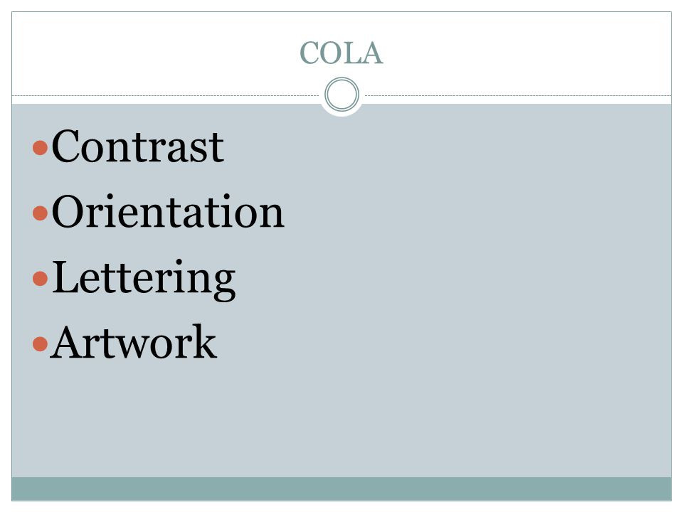 COLA Contrast Orientation Lettering Artwork