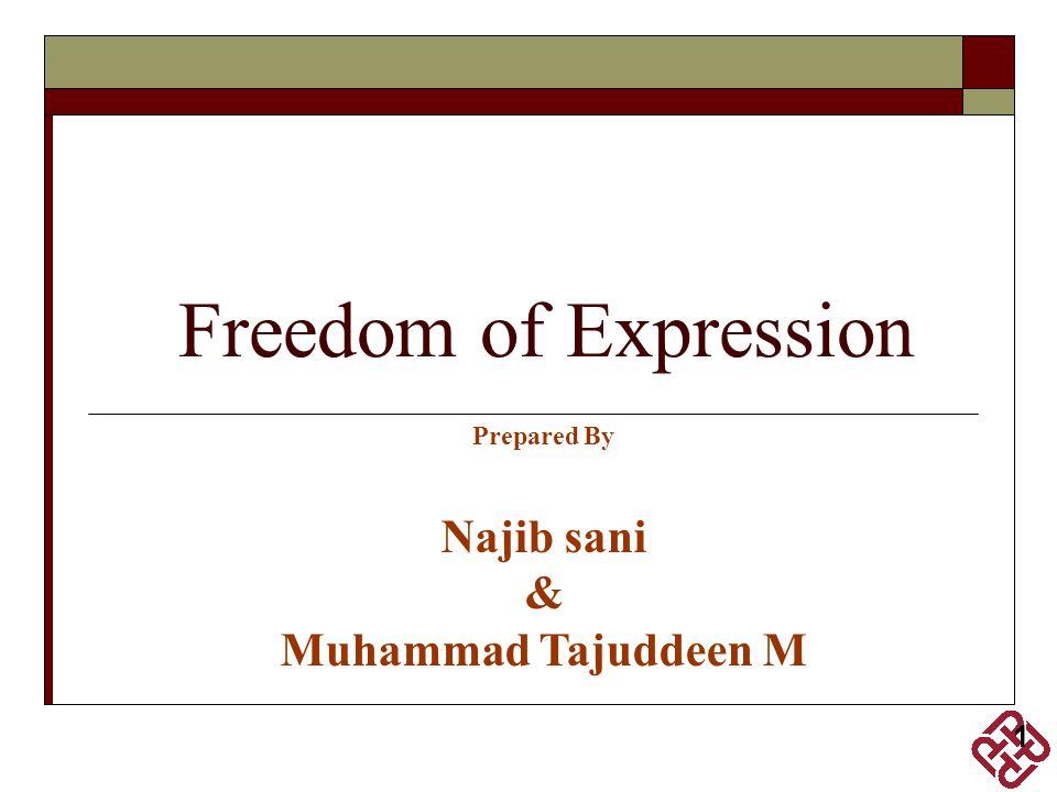 Freedom of Expression Prepared By Najib sani & Muhammad Tajuddeen M