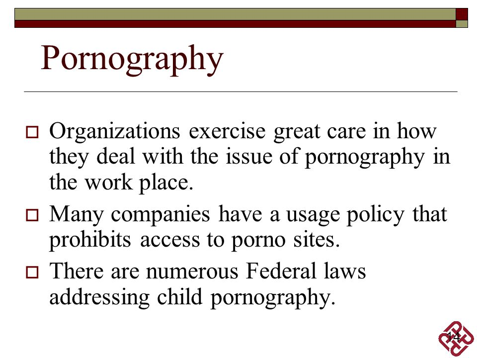 Pornography Organizations exercise great care in how they deal with the issue of pornography in the work place.