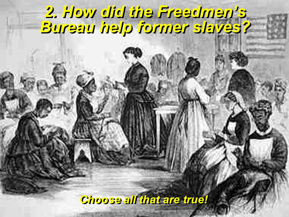 2. How did the Freedmen's Bureau help former slaves