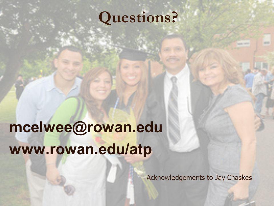 Questions mcelwee@rowan.edu www.rowan.edu/atp