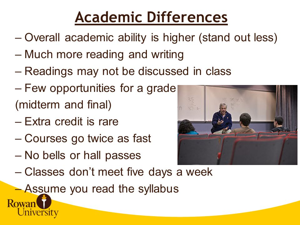 Academic Differences Overall academic ability is higher (stand out less) Much more reading and writing.