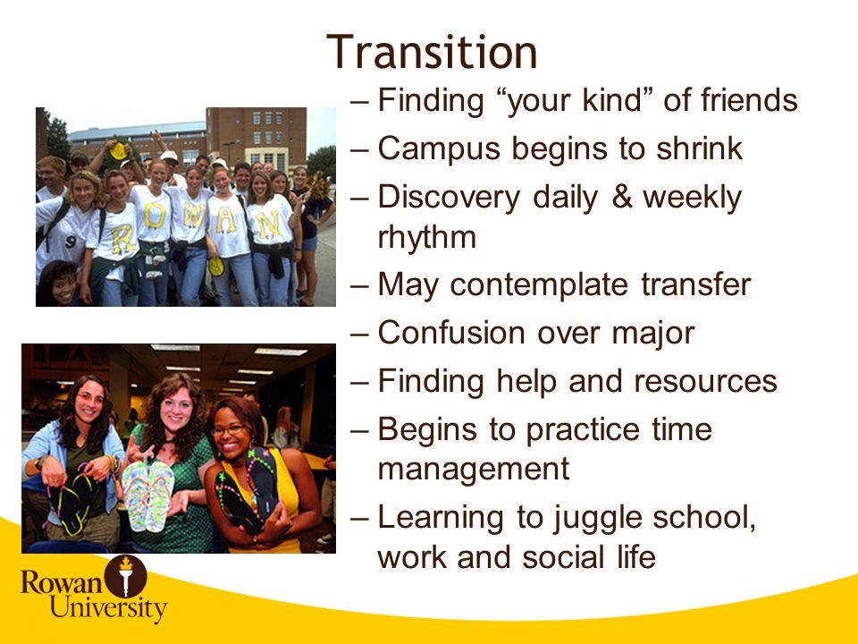 Transition Finding your kind of friends Campus begins to shrink