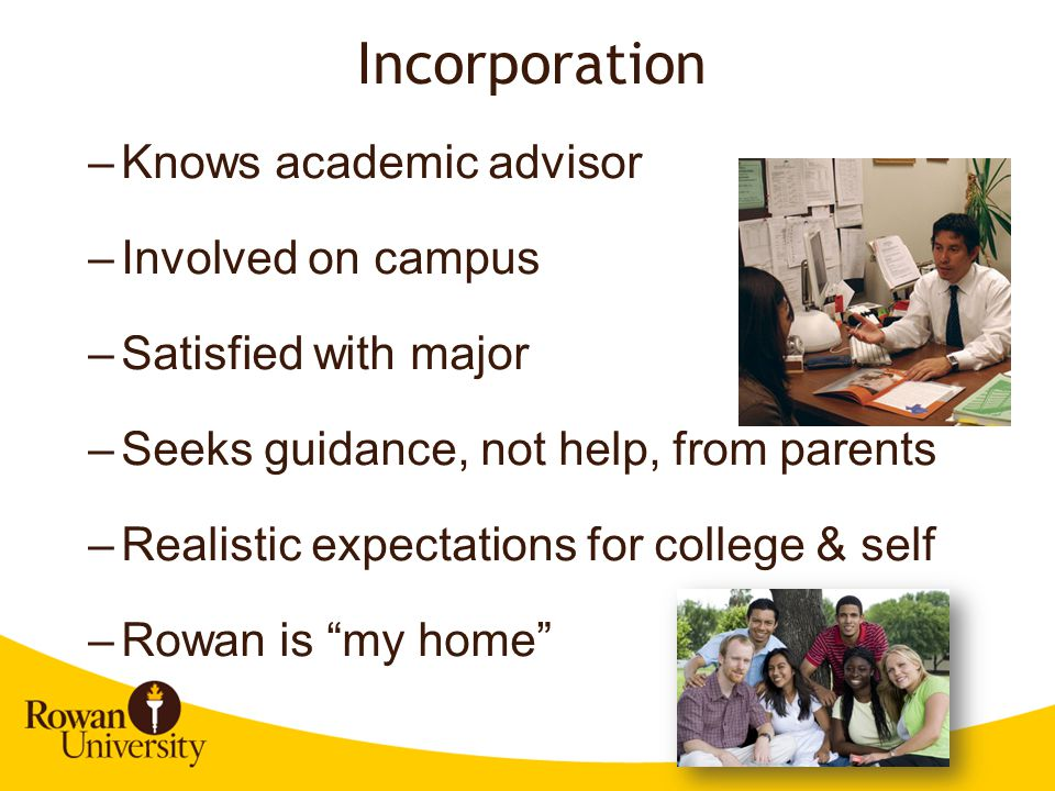 Incorporation Knows academic advisor Involved on campus