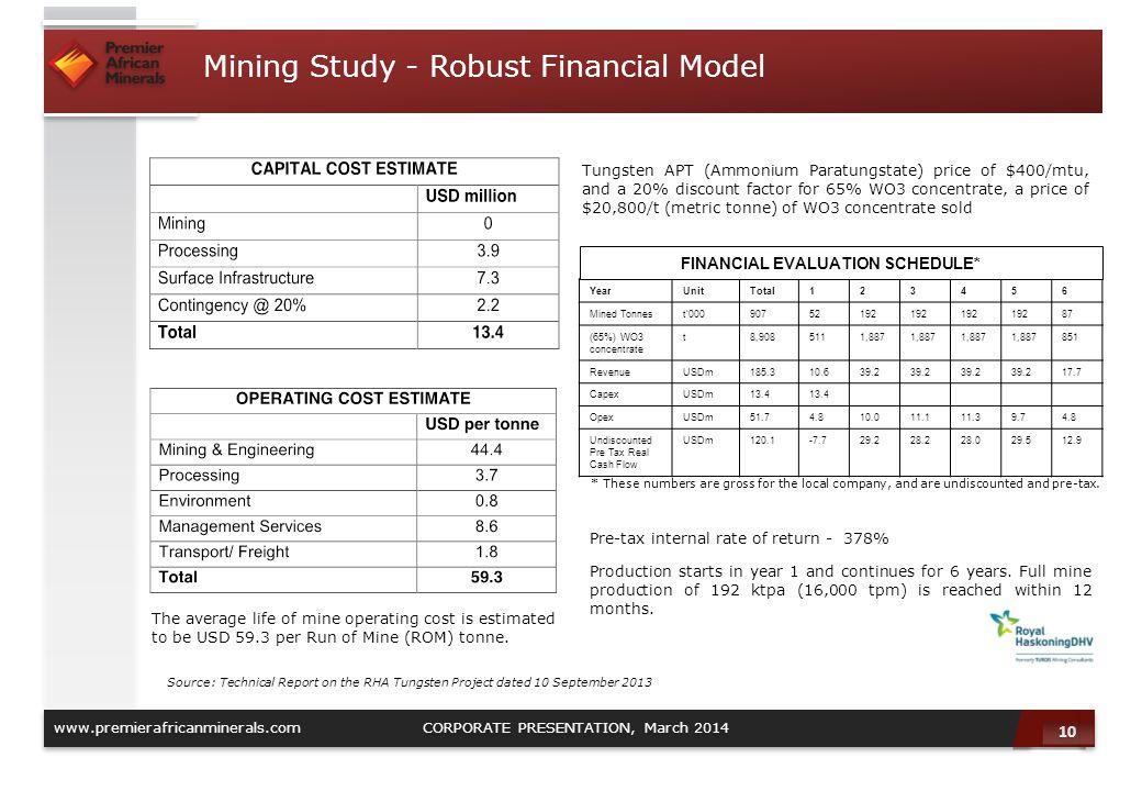 Mining Study - Robust Financial Model