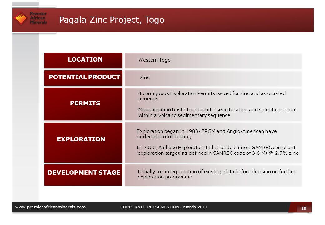 Pagala Zinc Project, Togo