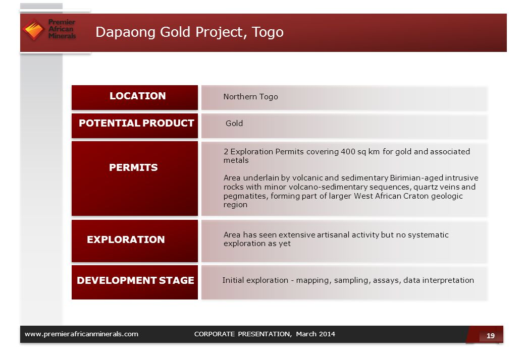 Dapaong Gold Project, Togo