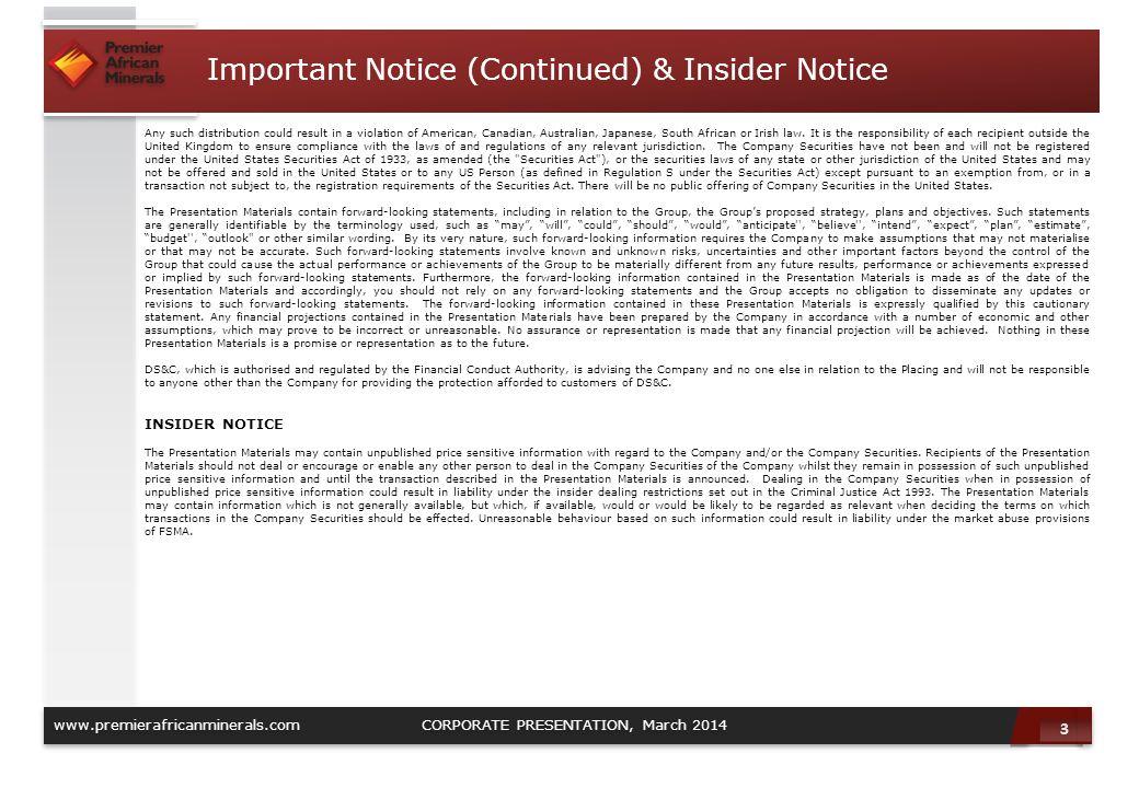 Important Notice (Continued) & Insider Notice