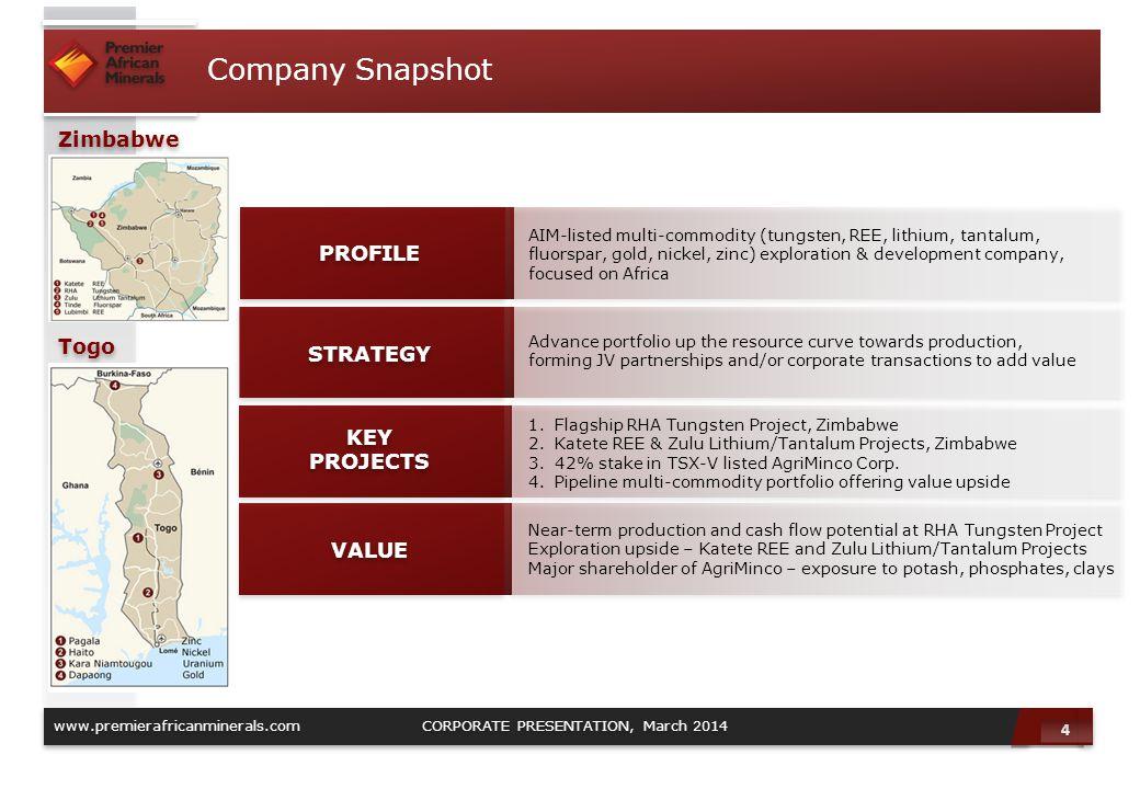 Company Snapshot Zimbabwe PROFILE Togo STRATEGY KEY PROJECTS VALUE 4