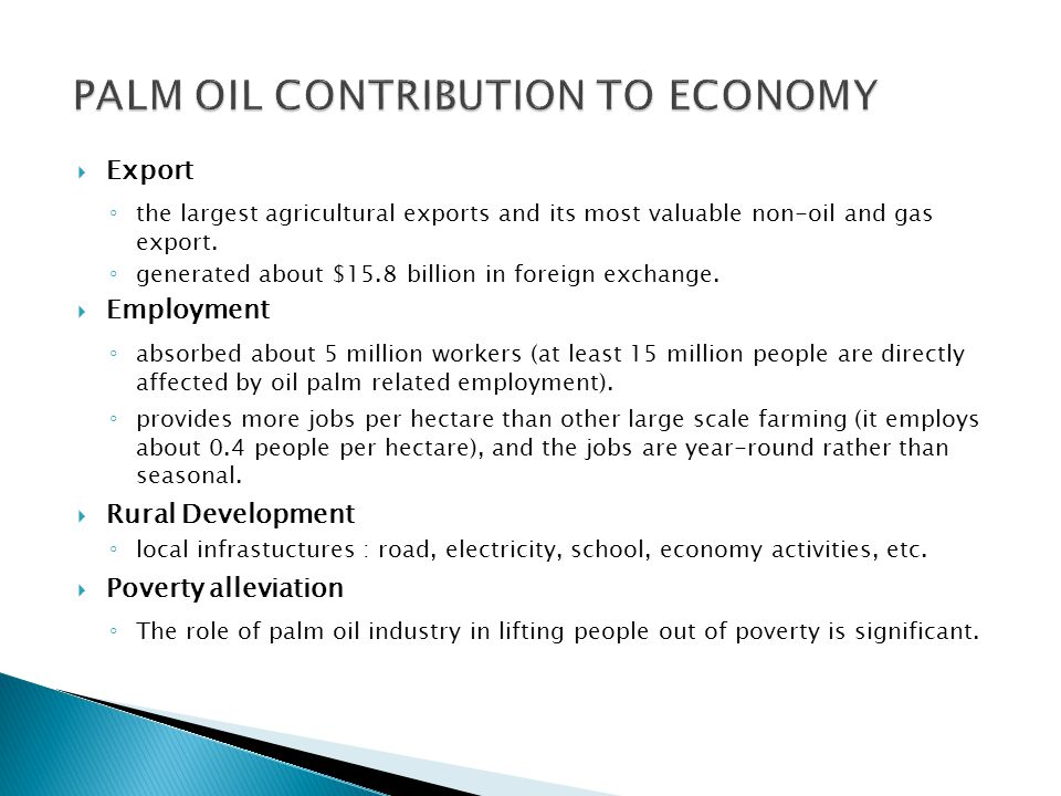 PALM OIL CONTRIBUTION TO ECONOMY