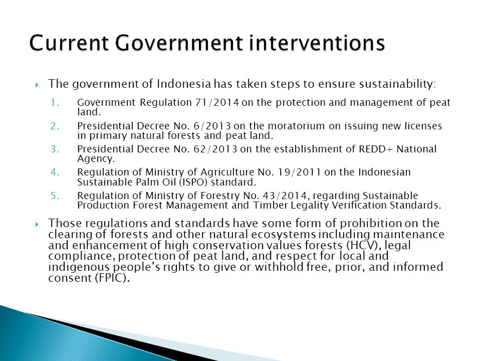 Current Government interventions