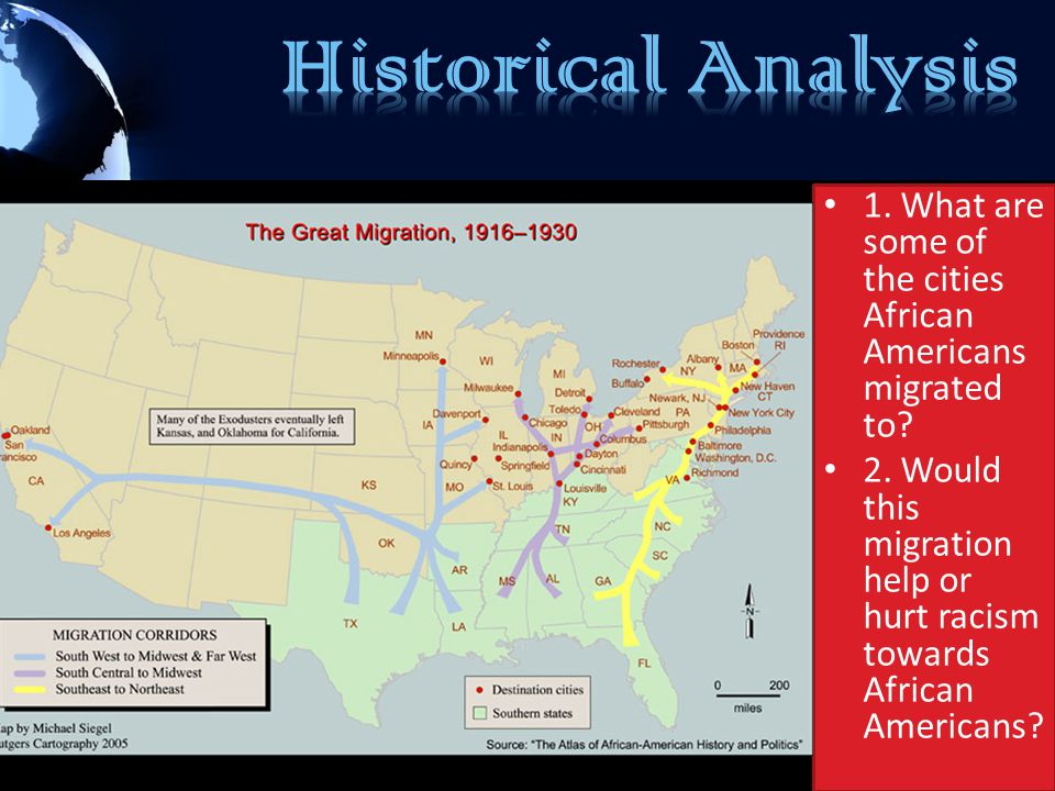 Historical Analysis 1. What are some of the cities African Americans migrated to