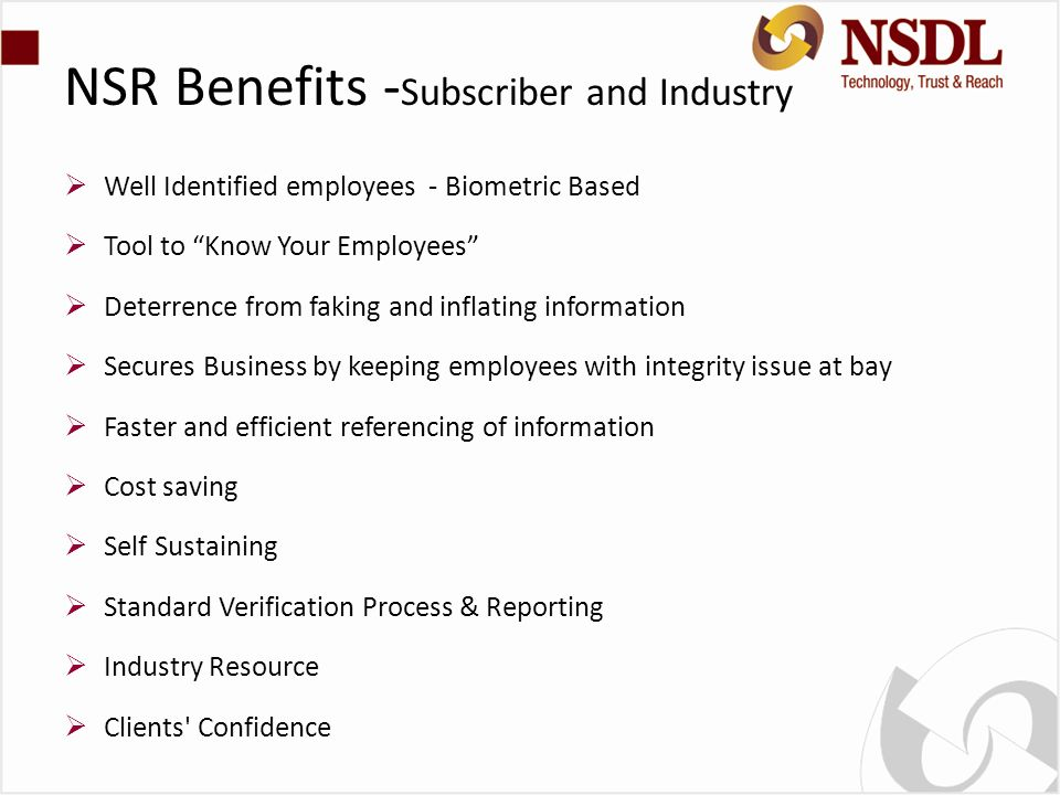 NSR Benefits -Subscriber and Industry
