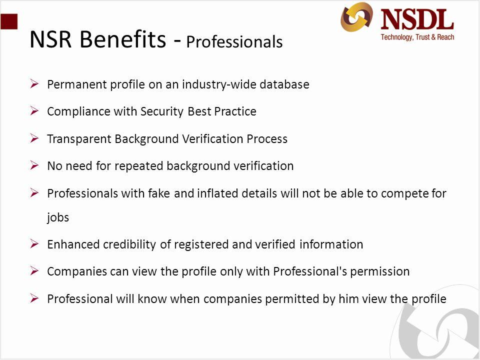NSR Benefits - Professionals